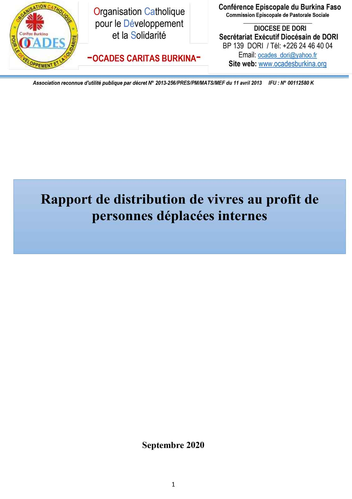 Rapport de distribution 01
